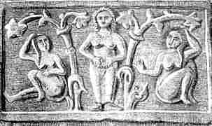 Vrouwen bij de heilige boom van de bijbelse godin Asjera: de levensboom.