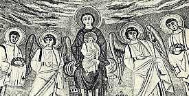 Afb. 6. madonna, Byzantijnsch mozaïek, VIe eeuw. Apsis van de Dom te Parenzo.