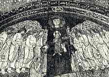 Afb. 7. Madonna, Byzantijnsch mozaïek, IXe eeuw. Rome, S. Maria in Domnica