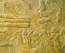 Assyrisch reliëf, 13e eeuw v.c., mythische voorstelling van roeiers in boten door onderwereld, met dieren, fabelwezens en de zeegod Dagon, gaf misschien aanleiding tot het beeld van Noach in de ark.