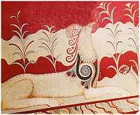 Griffioen uit de troonzaal van het paleis in Knossos op Kreta