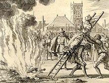 Verbranding van een heks op last van de kerk. Ingebeelde misdaad.