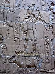 Horus verslaat het nijlpaard Seth