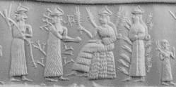 Akkadisch rolzegel met onder andere Nissaba, de godin van het koren en van het schrift, met een tablet in haar hand. Datering: ca. 2300 v.o.j. Het zegel ging op een veiling voor $ 127.000 van de hand.