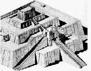 Tekening van de ziggurat van Ur. Tempel voor de maangod Nanna.